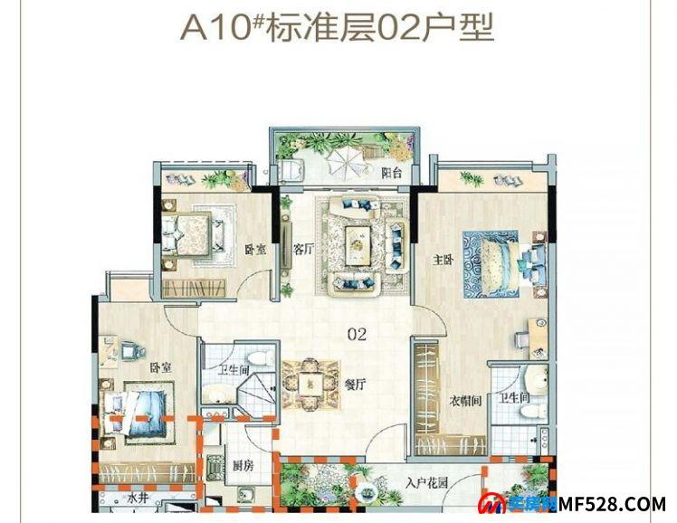 海南临高富力悦海湾02户型 3室2厅2卫1厨 建筑面积:104㎡